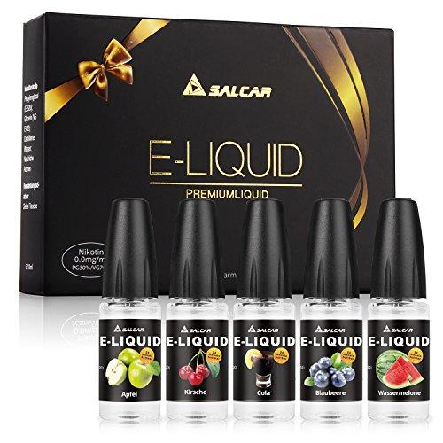 Salcar 5 x 10ML de Liquid para cigarrillo electrónico, 0,0 MG nicotina, VG70%/PG30%, manzana, cereza, arándanos, sandía, cola
