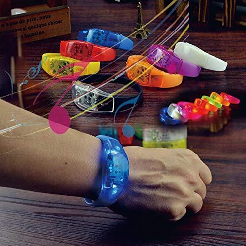 Stimme Aktiviert Sound Control Led Blinkt Silikon Armband vibration control Armreif Weihnachten Neue Jahr hochzeit Dekoration 8pcs (Aktiviert Armband Sound)