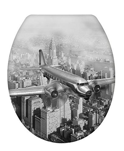 Wenko 22410100 WC-Sitz Old-Time Plane Toiletten-Sitz mit Absenkautomatik, Rostfreie Fix-Clip Hygiene Edelstahlbefestigung Flugzeug-klo