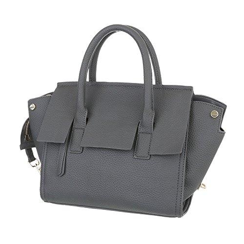 iTal-dEsiGn Damentasche Kleine Schultertasche Handtasche Kunstleder TA-A01 Grau