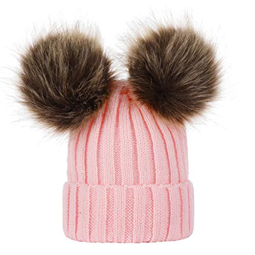 GROOMY Infant Baby Winter verdickte gerippte Strickmütze Faux Fuchspelz Volltonfarbe mit doppeltem Flauschigen Pompom Ball Cuffed Beanie Cap Ohrwärmer 0-3T - Pink