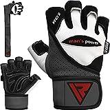 RDX Rindsleder Fitness Handschuhe Gewichtheben Sport Trainingshandschuhe Gym Workout Bodybuilding, Weiß, M