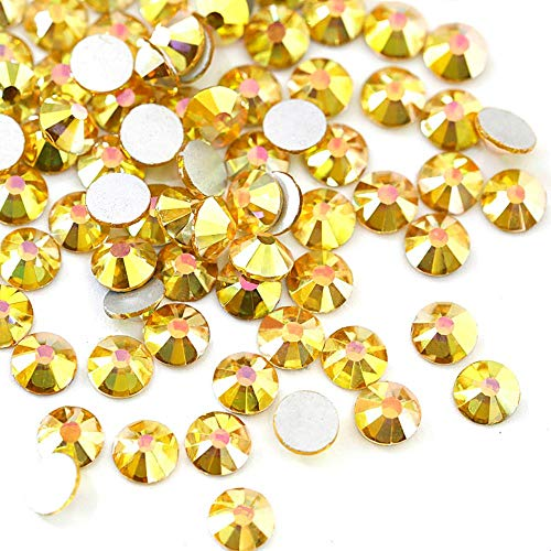 Flat Back 2028 4mm Crystal (PENVEAT 2028 SS3-SS30 Sunshine Glass Non Hot Fix Rhinestones Gold Glitter Rhinestones Glitter Diamond for Nail Art Decorations B3577,SS12-1440pcs)