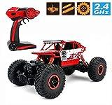 RC Rock Climb Auto, 1/18 Off Road Vehicle 4WD schnelle Geschwindigkeit Rennwagen Crawler Dune Buggy Fernbedienung Monster Truck 2.4Ghz wiederaufladbare Hobby Car Toy (Rot)