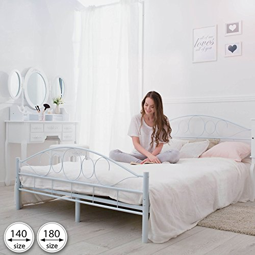 TecTake Double metal bed frame king size modern bedroom 180x200cm white + slatted frame