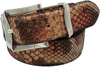 ESPERANTO Cintura in Pitone unisex foderata in vera pelle Cuoio nabuc con Fibbia colore Argento satinato- 4 cm lavorazione patchwork
