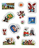 Unbekannt 13 tlg. Set 3-D Soft Sticker / Aufkleber - Der kleine Maulwurf - wasserfest - selbstklebend Pop-Up Aufkleber Wandsticker
