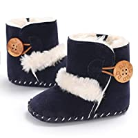 Princer Baby First Walking Snow Shoes,for 0~18 Month Kids, Baby Girl Fashion Cute Warm Soft Sole Snow Boots (Age:12~18 Month, Navy)