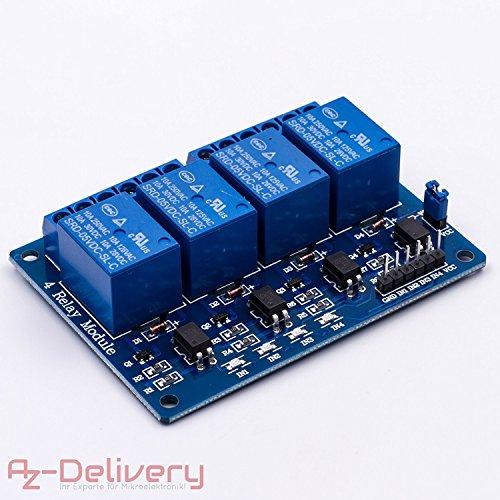 AZDelivery ⭐⭐⭐⭐⭐ 4-Relais Modul 5V mit Optokoppler Low-Level-Trigger für Arduino