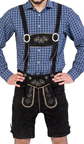 Almwerk Herren Trachten Lederhose kurz Modell Sepp in schwarz, braun und hellbraun, Farbe:Schwarz;Größe Herren:44