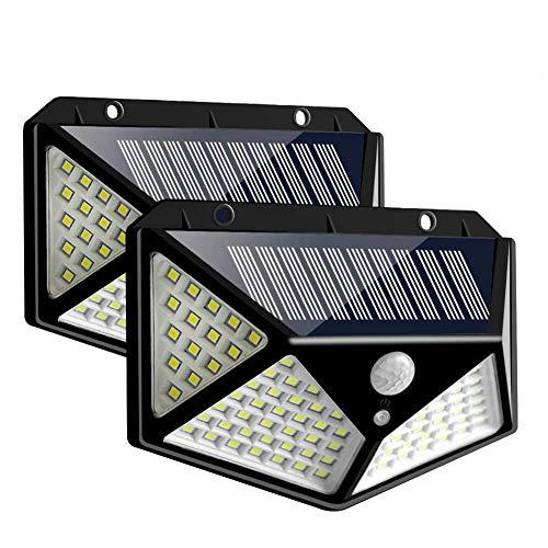 JSDW Solarleuchten Im Freien, Solarbetriebene Bewegungsmelderleuchten 100 LEDs wasserdichte Außenwandleuchte Nachtlicht Mit 3 Modi Mit 270 ° Weitwinkel Für Garten, Hof, 2Er-Pack