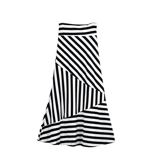 Ba Zha Hei röcke Frauen Asymmetrische Hohe Taille Gestreiften Falten über Stretch Lange Maxi Rock Fashion Womens Sommer Gefaltete Röcke High Taille Knielangen Schwarz-Weiß-Streifen Rock (Weiß, S)
