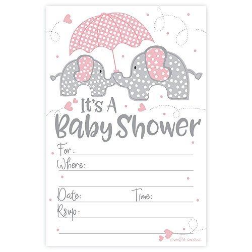 m&h invites M & H lädt Pink Elefant Mädchen Baby Dusche Einladungen (20Zählen) mit Umschlägen (Elefanten-baby Lädt)