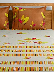 Raymond Home Yellow Double Bedsheet with 2 Pillow Covers