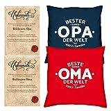 Oma & Opa Kissen mit Füllung komplett und 2 Urkunden