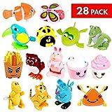 Set mit 28 Spielzeugen zum Aufziehen in 14 verschiedenen Designs - Mitgebsel Party Kleinspielzeug - Kindergeburtstag Geburtstagsgeschenk Taschen Pinata Füllstoffe Karneval Preise Schule Belohnung