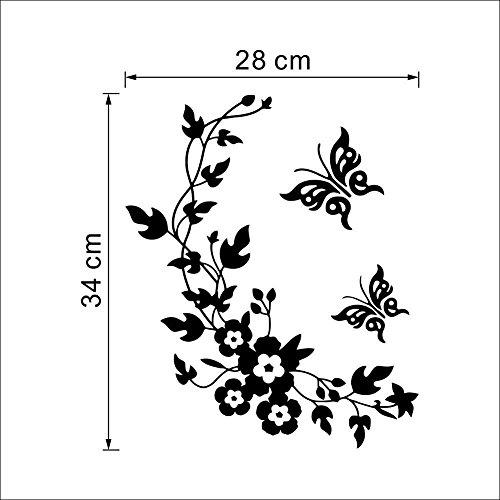 Romote del fiore di farfalla decalcomanie adesivi murali bagno vite decorazione della casa della parete per la toletta adesivo decorativo