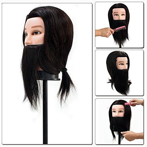 Neverland Homme Barbe reel Cheveux Head Formation Coiffure Avec Clamp gratuit pour le college et a usage professionnel Noir