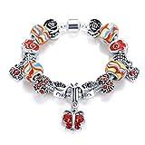 YIYIYYA Armband Für Frauen Vintage Armbänder Armreifen Silber Schlangenkette Charm Anhänger Armbänder Europäischen Perlen Armbänder, 02,18 cm