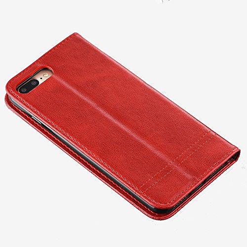 Coque pour iPhone 8 Plus, SunFay Housse à rabat Flip PU Cuir Premium Etui Portefeuille Magnétique avec Support Slots de cartes Antichoc Case Cover Coque de Protection pour iPhone 8 Plus - Gris Rouge