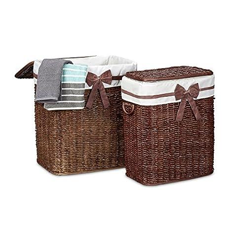 Relaxdays Wäschekorb 2er Set geflochten Buri eckig H x B x T: 56,5 x 46,5 x 33,5 cm stapelbare Wäschetruhe mit herausnehmbarem Wäschesack ca. 67 L Wäschesammler mit Schleife atmungsaktiv, (Buri Natur)