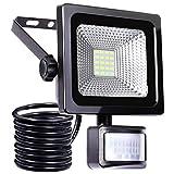 10W LED Strahler mit Bewegungsmelder LED Fluter IP66 wasserdicht Außenstrahler Flutlichtstrahler Aluminium Scheinwerfer 1000 LM superhell Licht 6000 K tageslichtweiß, ideale Wandleuchte für Garten