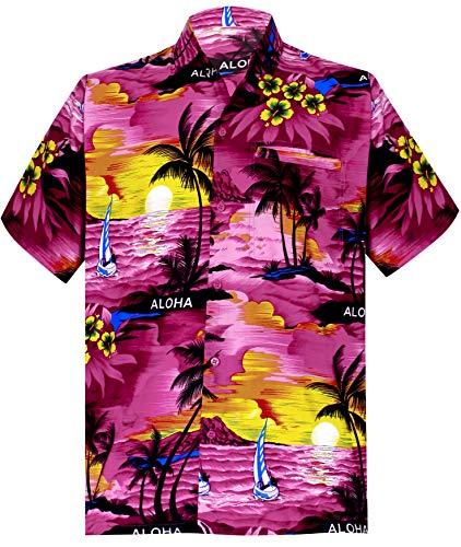 LA LEELA männer Hawaiihemd Kurzarm Button Down Kragen Fronttasche Beach Strand Hemd Manner Urlaub Casual Herren Aloha Rosa_291 L Likre 538