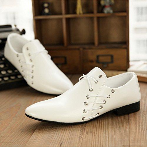 XiaoYouYu Chaussures pour hommes en cuir À Enfiler Habillé Décontracté Mariage Blanc