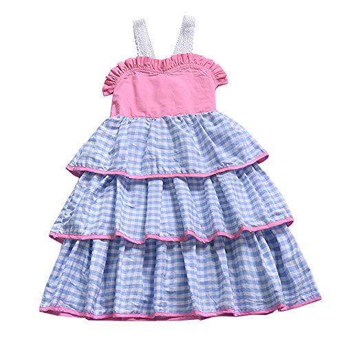 Fairy Baby Kleinkind Mädchen überprüft Kleid Ball Dance Party Kleider ärmellos Size 100(2-3 Jahre) (Blau)