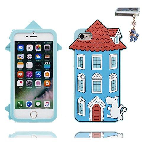 """Coque iPhone 7 Plus Cover Cartoon 3D nuages blancs Rainbow, TPU Flexible Durable iPhone 7 Plus Étui iPhone 7 Plus Case 5.5"""" Shock Dust Resistant & Bouchon anti-poussière # 3"""