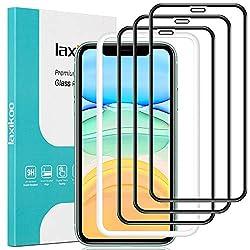 laxikoo Full Screen Schutzfolie für iPhone 11 /iPhone XR, [3 Stück] Panzerglas iPhone XR Displayschutz mit Positionierhilfe [3D Volle Deckung] [9H Härte] [Blasenfrei] für iPhone 11 /iPhone XR - 6.1''