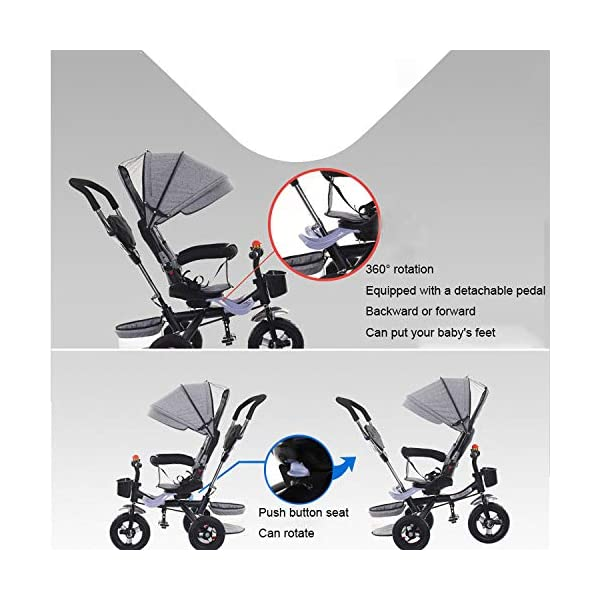 BGHKFF 4 In 1 Kids' Trikes 6 Months To 5 Years 360° Swivelling Saddle Pram Easy To Assemble Adjustable Push Handle 5-Point Safety Belt Folding Sun Canopy Childrens Tricycles Maximum Weight 25 Kg,Grey BGHKFF ★Material: Steel pipe, suitable for children from 6 months to 5 years old, the maximum weight is 25 kg ★ 4 in 1 multi-function: can be converted into a stroller and a tricycle. Remove the guardrail and awning as a tricycle. ★ Baby tricycle with 360° swivel seat, baby can face parents, easy for parents to take care of the baby, detachable and adjustable sunroof to provide maximum comfort for your child. 3