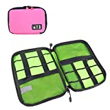 IOKHEIRA Electronics Accessories Organizer Bag Universal Cable Organizer Portable Easy Carry Travel Case Bag for Electronic Computer Cell Phone iPad Accessories USB Cables Power Banks Hard Disk (Pink -Style2)