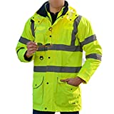 Veste et Gilet de Haute Visibilité 2 Vêtements Réfléchissants de Haute Visibilité de Sécurité comme 3 Vêtements(Veste extérieure imperméable+Veste intérieure en coton+Gilet en coton) 7 Styles de Portes(XXL 2Vêtements jaune)