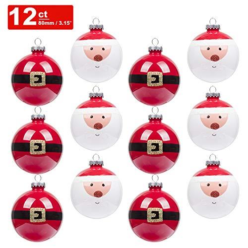Art beauty palline di natale 12pcs infrangibile decorazione albero di natale ornamenti 80mm artigianale per festa di natale nozze decorazione, santa, 80 mm