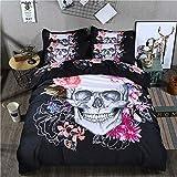 WONGS BEDDING Tête de Mort 3D Housse de Couette King Size Imprimé Floral Parure de lit en Microfibre Parure de lit Doudou couvertures avec Fermeture à glissière 220*240cm