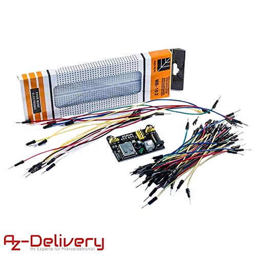 AZDelivery ⭐⭐⭐⭐⭐ MB 102 Breadboard Kit - 830 Breadboard, Netzteil Adapter 3,3V 5V, 65Stk Steckbrücken für Arduino -