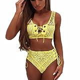 YunYoud Damen Dessous Sets Einfarbig Hohl Bustier Bandage Bikini BH Reizvoller Spitze Ausgesetzt Nabel Tops + Hose Unterwäsche (L, Gelb)