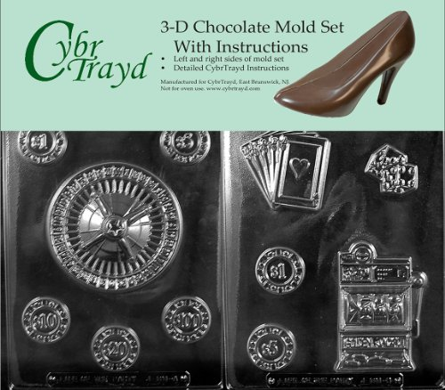 Cybrtrayd J101AB Casino for Specialty Box Chocolate Candy Mold Bundle with 2 Molds and Exclusive Cybrtrayd Copyrighted 3D Chocolate Molding Instructions by CybrTrayd