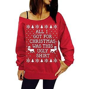 Briskorry Weihnachten Pullover Damen Weihnachten Drucken Sweatshirt Herst Winter Pulli Weihnachtspullover Festlich Hoodies Lang Ärmel Oberteile Outwear