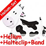 Carpeta Folienballon Set * Kuh + Helium FÜLLUNG + Halte Clip + Band * für Kindergeburtstag Oder Motto-Party // SUPERSHAPE // Folien Ballon Helium Deko Ballongas Motto Farm Bauernhof Tier