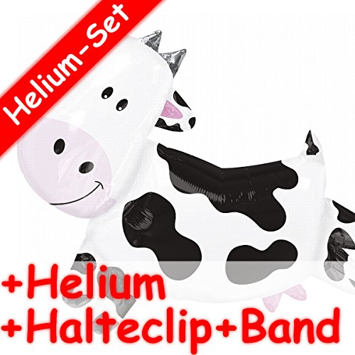 (Carpeta Folienballon Set * Kuh + Helium FÜLLUNG + Halte Clip + Band * für Kindergeburtstag Oder Motto-Party // SUPERSHAPE // Folien Ballon Helium Deko Ballongas Motto Farm Bauernhof Tier)