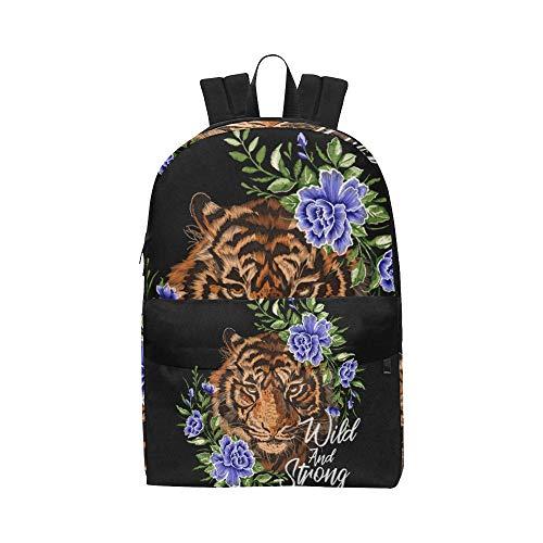 ei Tiger Wild and Free Klassische niedliche Daypack Taschen School College Kausal Rucksäcke Bookbag für Kinder Frauen und Männer Reisen mit Reißverschluss und Innentasche ()