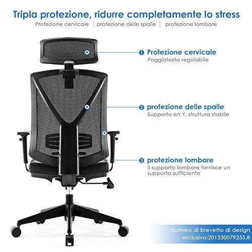 Zoom IMG-1 intey sedia ufficio altezza regolabile