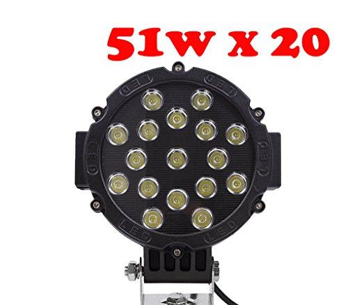 tanli 51 W LED Flood Spot Ampoule de voiture lampe de travail LED Feux Diurne lumière de la lumière des phares de Campo A Traves de SUV UTV ATV Noir 20 pièces