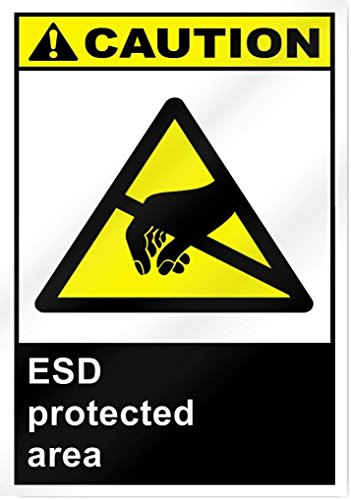 Eugene49Mor ESD geschützt Bereich Vorsicht Aluminium Metall Schild-25,4cm Breit x 35,6cm Hoch-UV-geschützt und Wetterfest - Metallic-yoyo
