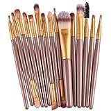 Makeup Kosmetik Pinsel Xinan 15 Stk/Sets Augenschatten Fundament Augenbrauen Lippe Pinsel Make-up Pinselwerkzeug (, Gold)