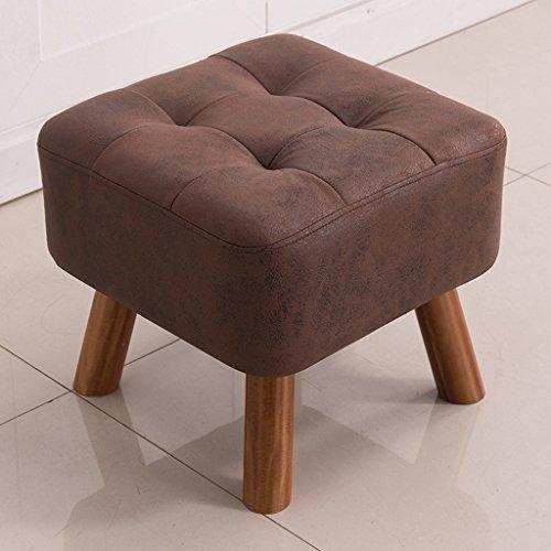 Massivholz Kleine Quadratische Hocker Kreative Tee Tisch Stuhl Technologie Tuch Eingang Für Ändern Schuhe Hocker (Color : Dark Brown) (Brown-leder-bar Hocker Dark)
