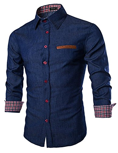 Coofandy Herren Jeanshemd regular fit hemd Denim Langarmhemd Cowboy-Style Freizeit, Darkblue, S