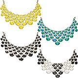 4 Piezas Collar Llamativo Vintage Collar de Burbujas Joyería Abanico en forma de Collar de Flor para Mujeres Niñas